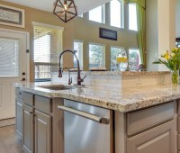 dark, dated, kitchen, remodel, desk, brown , cabinets, black, granite, bar stool, white, fresh, bright, updated, gray, transitional, traditional
