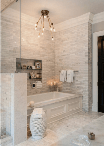 light - bathroom- white,-gray- marble -bath tub - tub - chandelier- traditional - contemporary - transitional