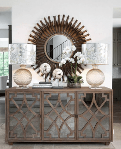 mirror, accessories, decorate, terravista, interior, design, gold, round, console, entry, way