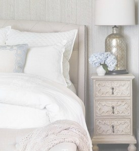 bedroom-upholstered headboard-bedding-white-transitional-traditional-lamp-hydrangea-blue-purple