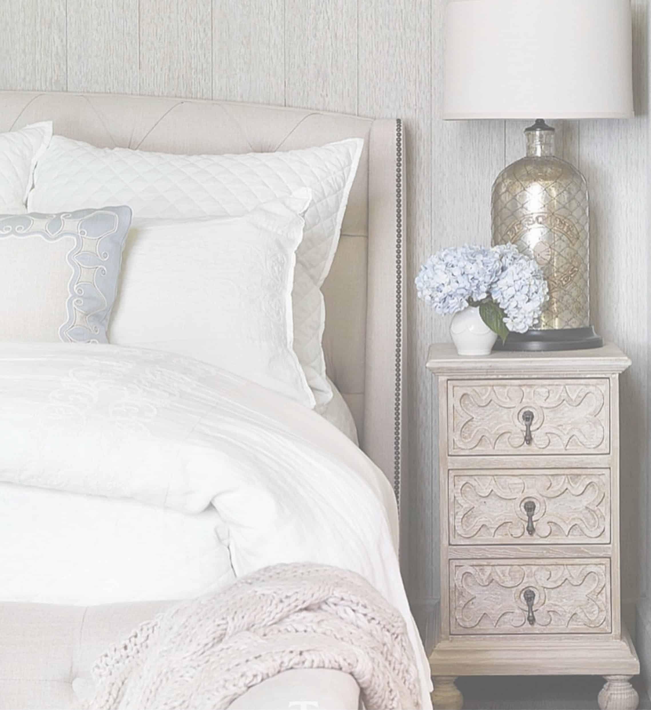 Designer bedroom upholstered headboard bedding white transitional traditional lamp