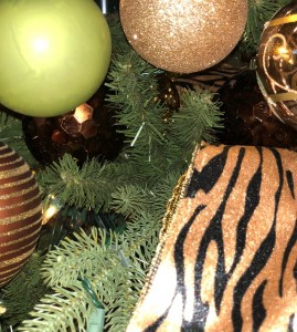 christmas, tree, interior design, animal print, green, gold, decorate, holiday