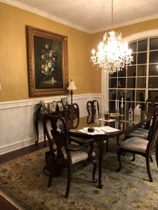 interior design, dining room, grass cloth, wallpaper, gray, traditional, transitional