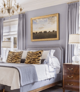 terravista, bedroom, master, romantic, interior design, upholstered, fireplace, candle, chandelier, mirror, lighting, gray, fur, throw, contemporary, transitional, white, nightstand, bed, tufted, blush poster bed