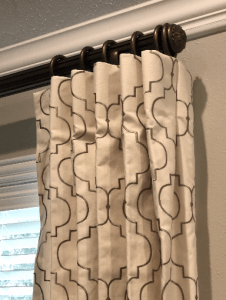 interior design, the woodlands, texas, window treatments, hardware, fabric, neutral, stationary panels, panels, red, green, installation