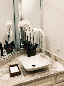 florals, design, powder bath, decorating, orchid, mirror, sink