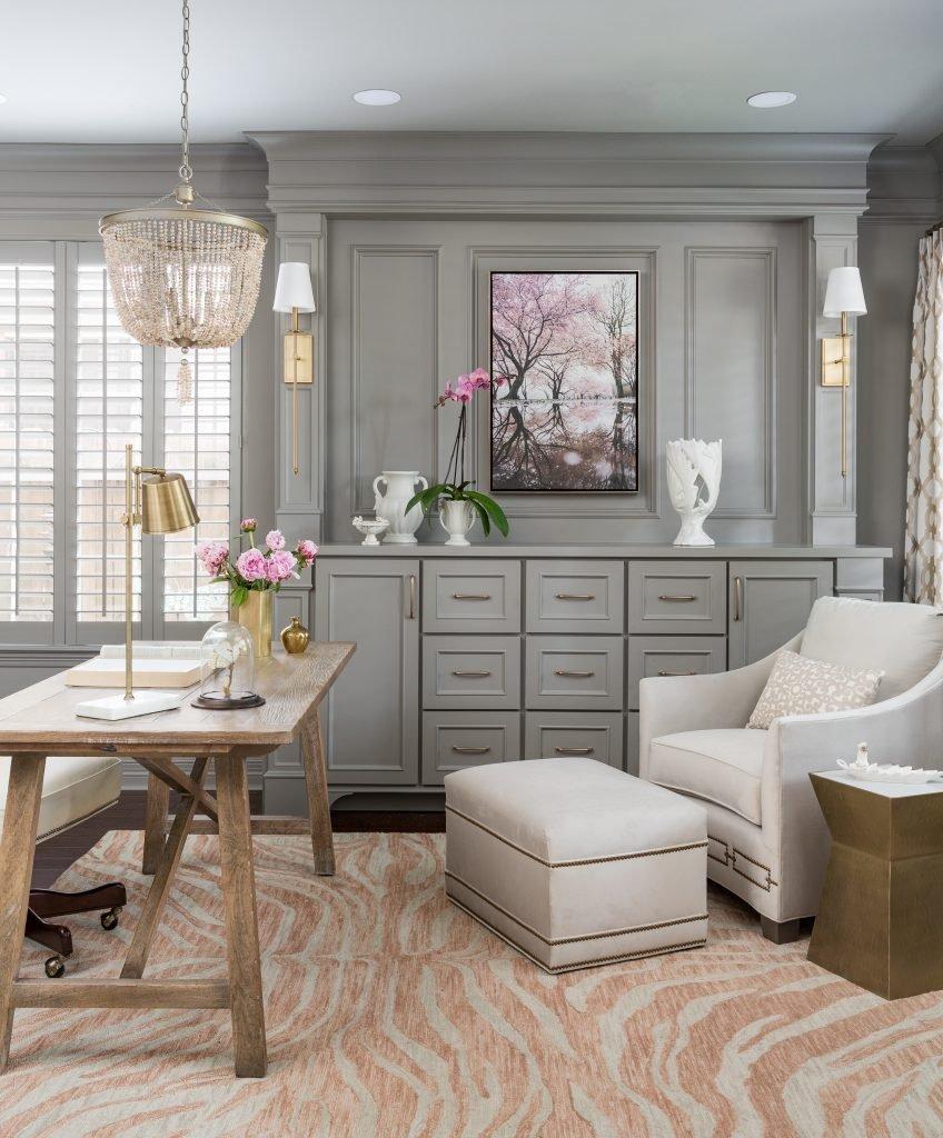 home, office, gray, pink, rustic, elegant, wood, desk, chair, animal, print