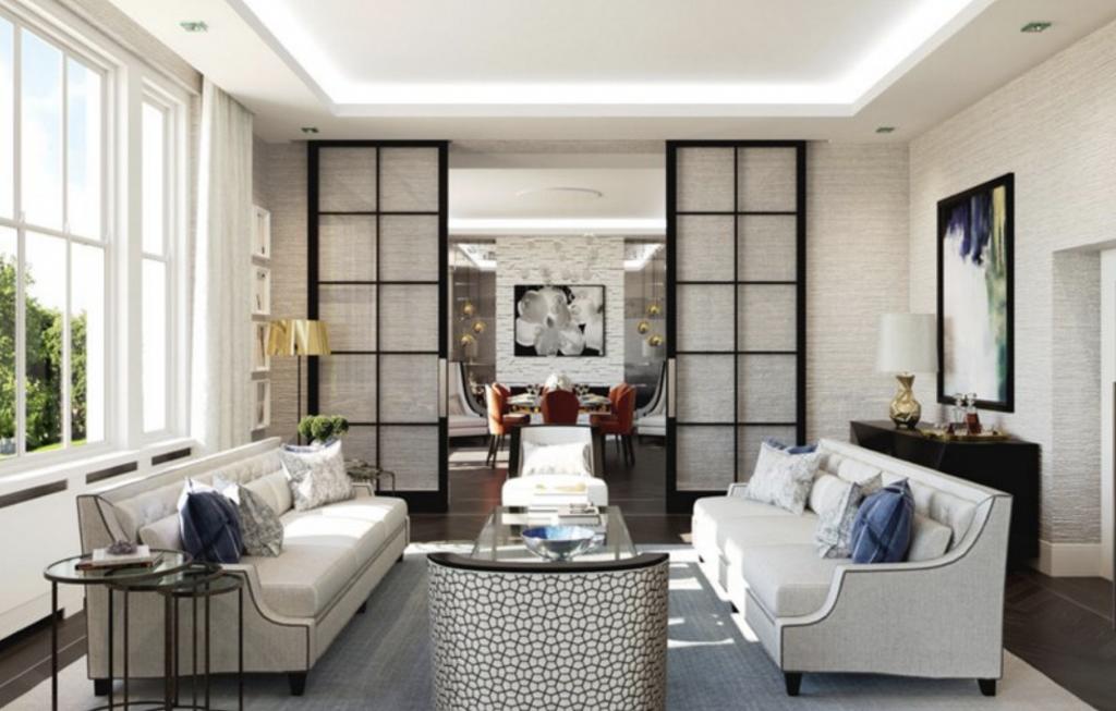 interior design, trends, living room, dining room, white, sofa, glass, sliding, doors, transitional