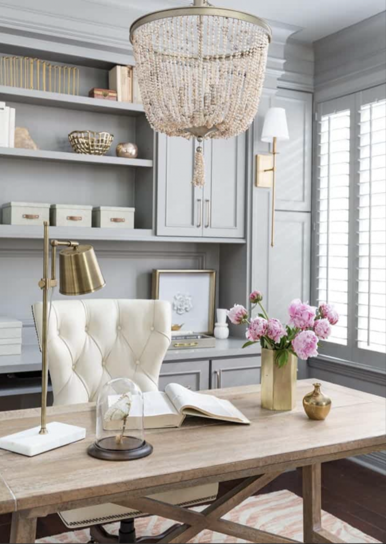 interior design, home office, work from home, desk, gray cabinets, lighting, chandelier, pink, animal print, sconces